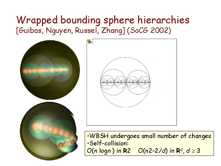Wrapped bounding sphere hierarchies [Guibas, Nguyen, Russel, Zhang] (So. CG 2002) • WBSH undergoes
