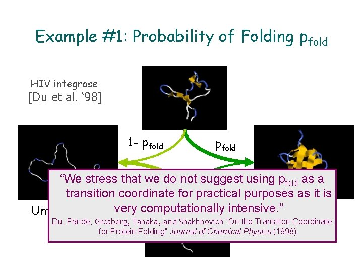 Example #1: Probability of Folding pfold HIV integrase [Du et al. ' 98] 1