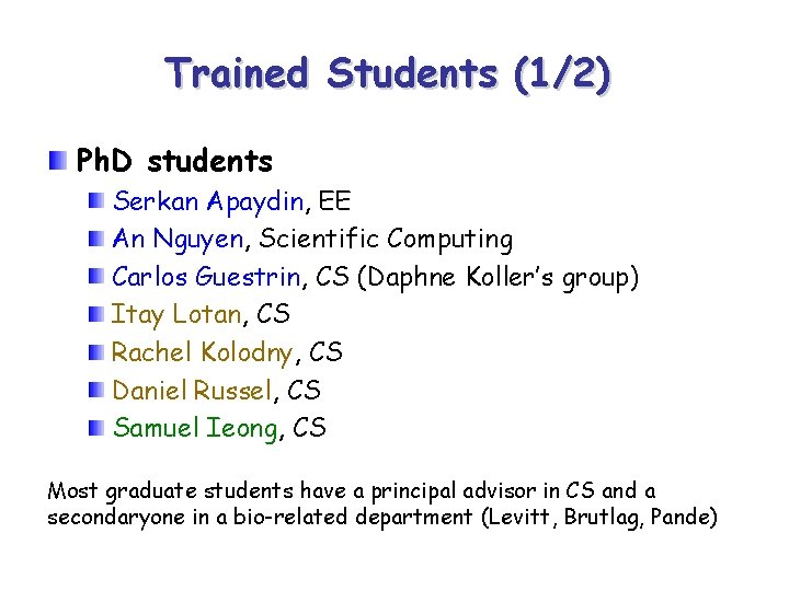 Trained Students (1/2) Ph. D students Serkan Apaydin, EE An Nguyen, Scientific Computing Carlos