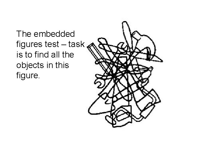 The embedded figures test – task is to find all the objects in this