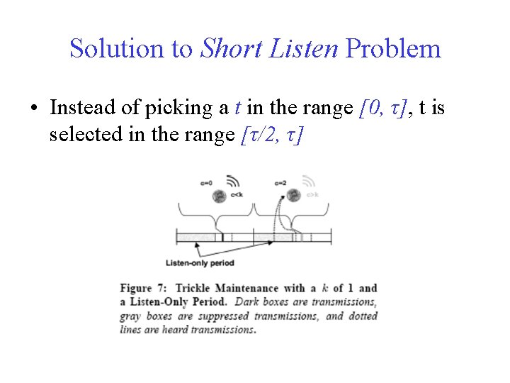 Solution to Short Listen Problem • Instead of picking a t in the range
