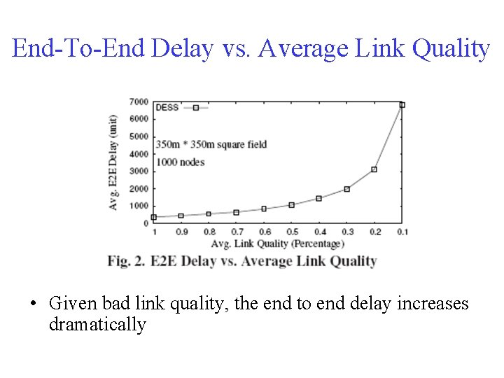 End-To-End Delay vs. Average Link Quality • Given bad link quality, the end to