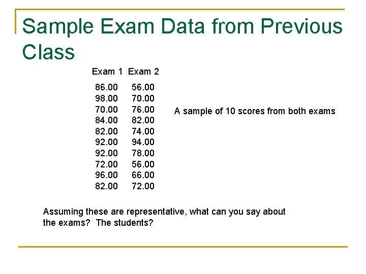Sample Exam Data from Previous Class Exam 1 Exam 2 86. 00 98. 00
