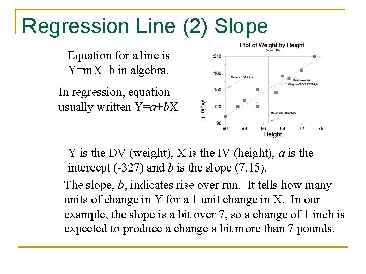 Regression Line (2) Slope Equation for a line is Y=m. X+b in algebra. In