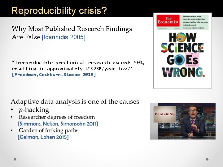 """Reproducibility crisis? Why Most Published Research Findings Are False [Ioannidis 2005] """"Irreproducible preclinical research"""