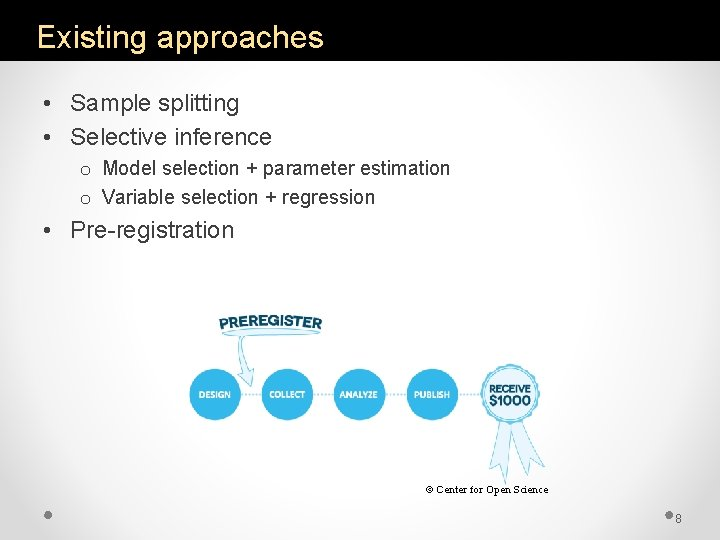 Existing approaches • Sample splitting • Selective inference o Model selection + parameter estimation