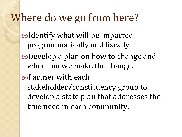 Where do we go from here? Identify what will be impacted programmatically and fiscally