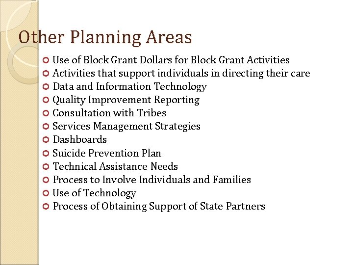 Other Planning Areas Use of Block Grant Dollars for Block Grant Activities that support