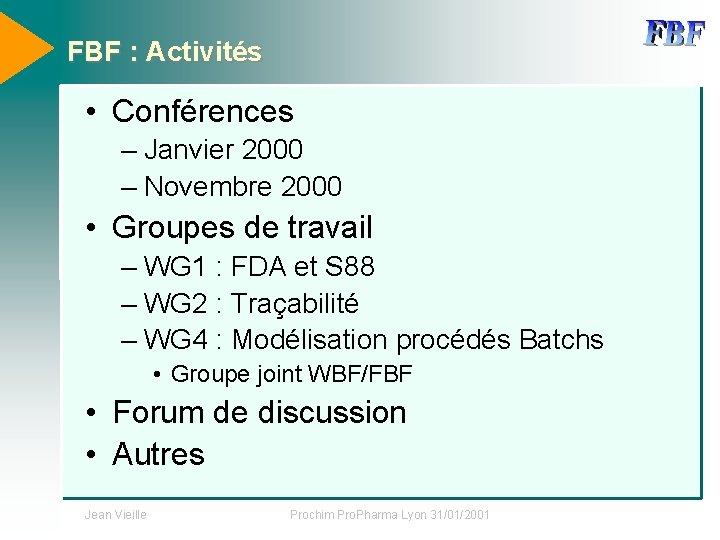 FBF : Activités • Conférences – Janvier 2000 – Novembre 2000 • Groupes de