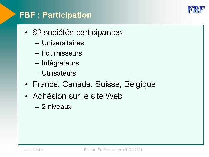 FBF : Participation • 62 sociétés participantes: – – Universitaires Fournisseurs Intégrateurs Utilisateurs •