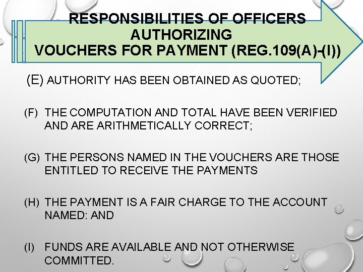 RESPONSIBILITIES OF OFFICERS AUTHORIZING VOUCHERS FOR PAYMENT (REG. 109(A)-(I)) (E) AUTHORITY HAS BEEN OBTAINED