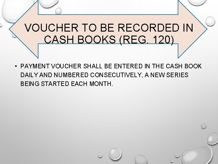 VOUCHER TO BE RECORDED IN CASH BOOKS (REG. 120) • PAYMENT VOUCHER SHALL BE