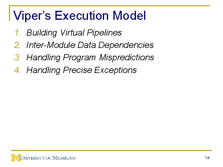 Viper's Execution Model 1. 2. 3. 4. Building Virtual Pipelines Inter-Module Data Dependencies Handling
