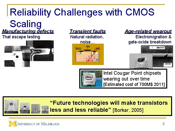 Reliability Challenges with CMOS Scaling Manufacturing defects Transient faults Age-related wearout That escape testing