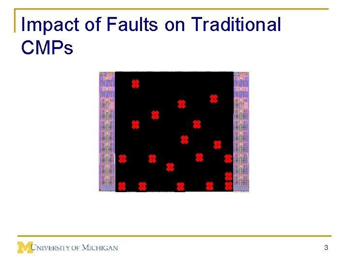 Impact of Faults on Traditional CMPs Core Core Cach e 3