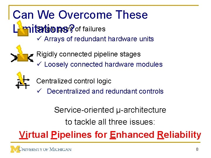 Can We Overcome These Single point of failures Limitations? ü Arrays of redundant hardware