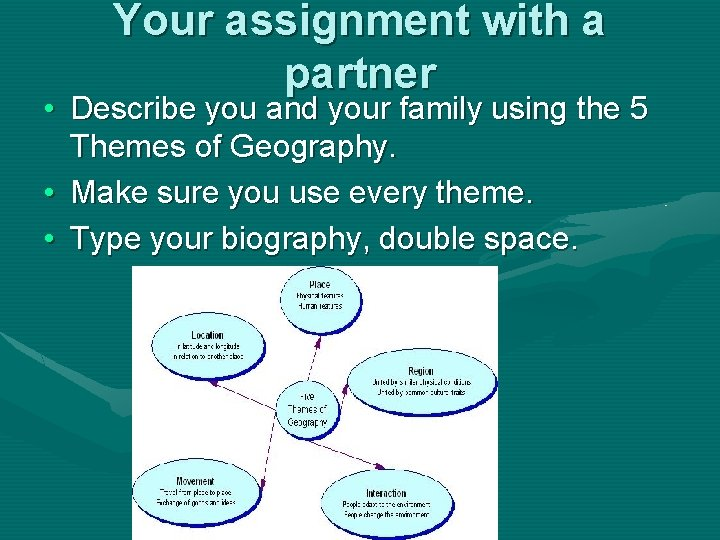 Your assignment with a partner • Describe you and your family using the 5