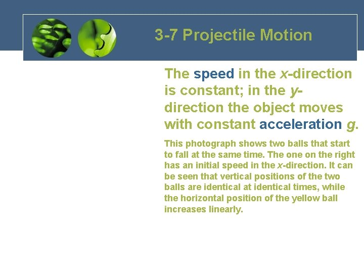 3 -7 Projectile Motion The speed in the x-direction is constant; in the ydirection