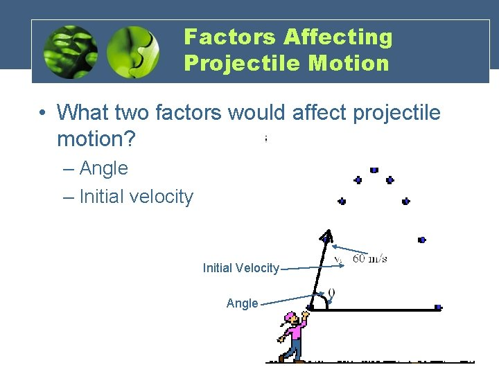 Factors Affecting Projectile Motion • What two factors would affect projectile motion? – Angle