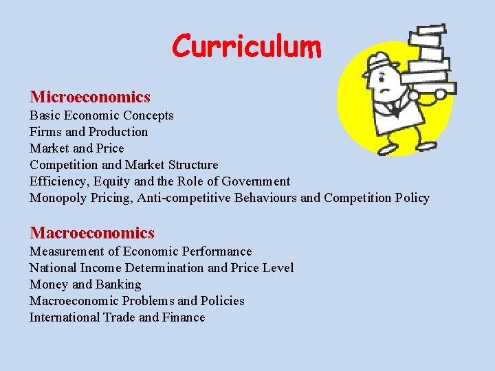 Curriculum Microeconomics Basic Economic Concepts Firms and Production Market and Price Competition and Market