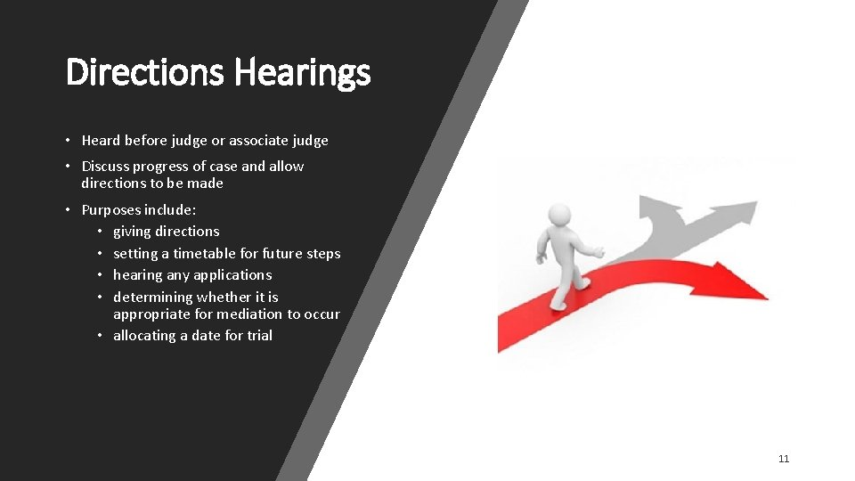 Directions Hearings • Heard before judge or associate judge • Discuss progress of case