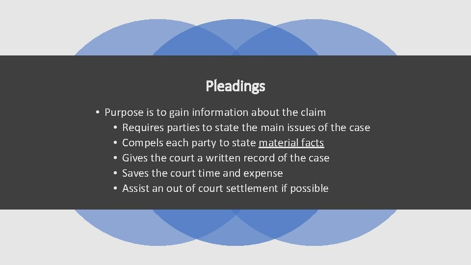 Pleadings • Purpose is to gain information about the claim • Requires parties to