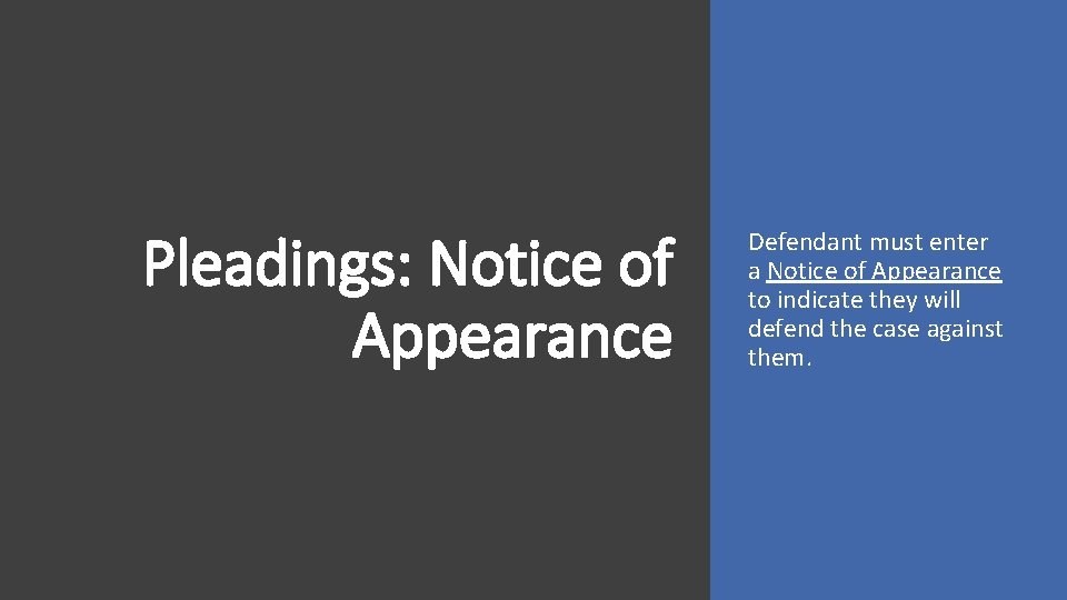 Pleadings: Notice of Appearance Defendant must enter a Notice of Appearance to indicate they