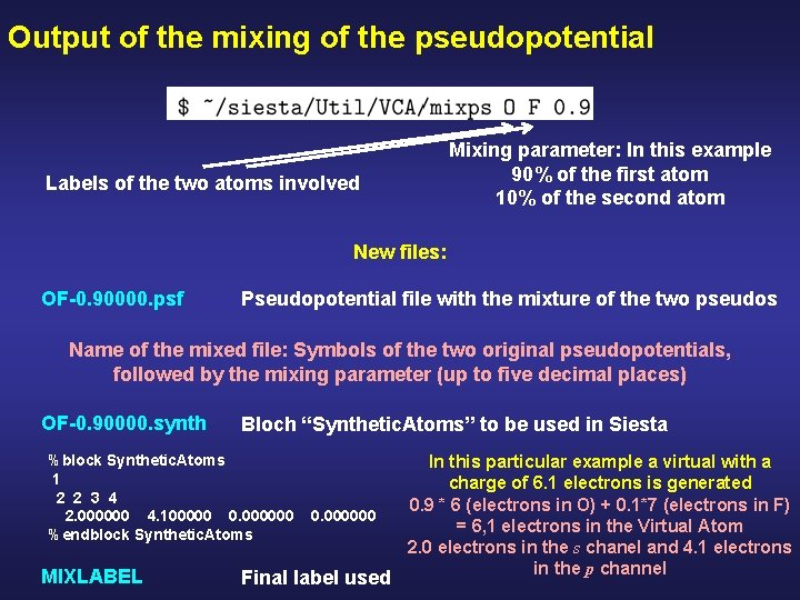 Output of the mixing of the pseudopotential Mixing parameter: In this example 90% of