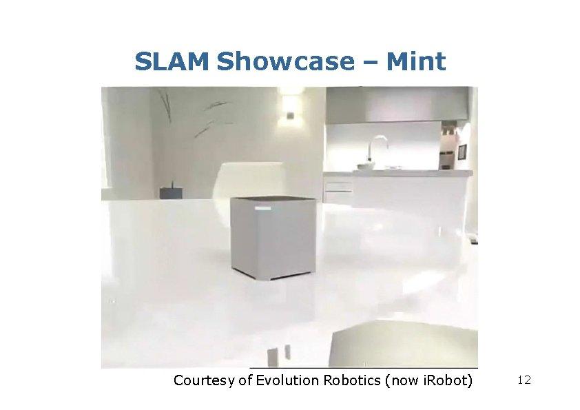 SLAM Showcase – Mint Courtesy of Evolution Robotics (now i. Robot) 12