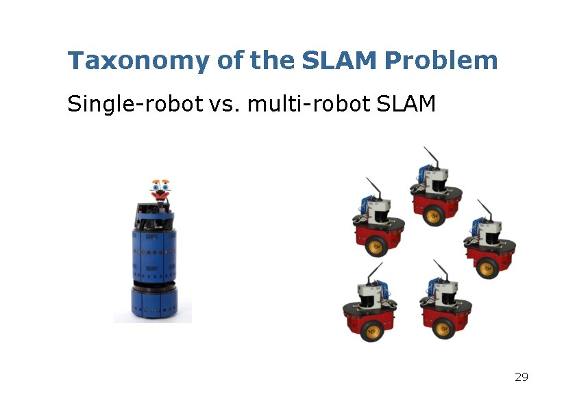 Taxonomy of the SLAM Problem Single-robot vs. multi-robot SLAM 29