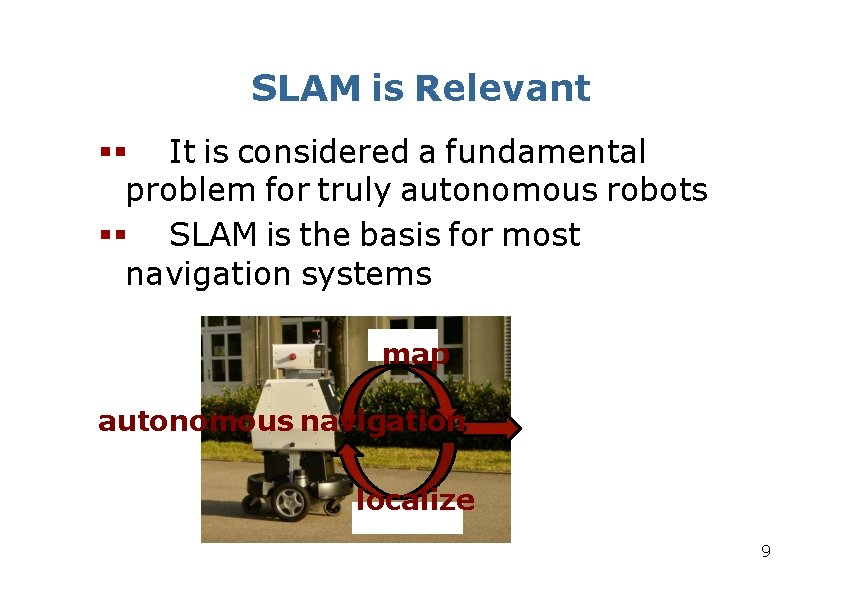 SLAM is Relevant It is considered a fundamental problem for truly autonomous robots SLAM