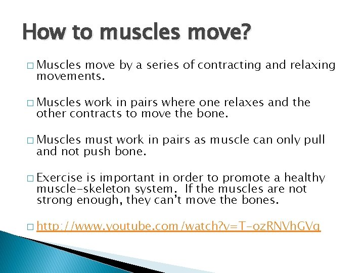 How to muscles move? � Muscles move by a series of contracting and relaxing