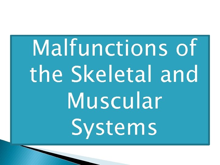 � Malfunctions of the Skeletal and Muscular Systems