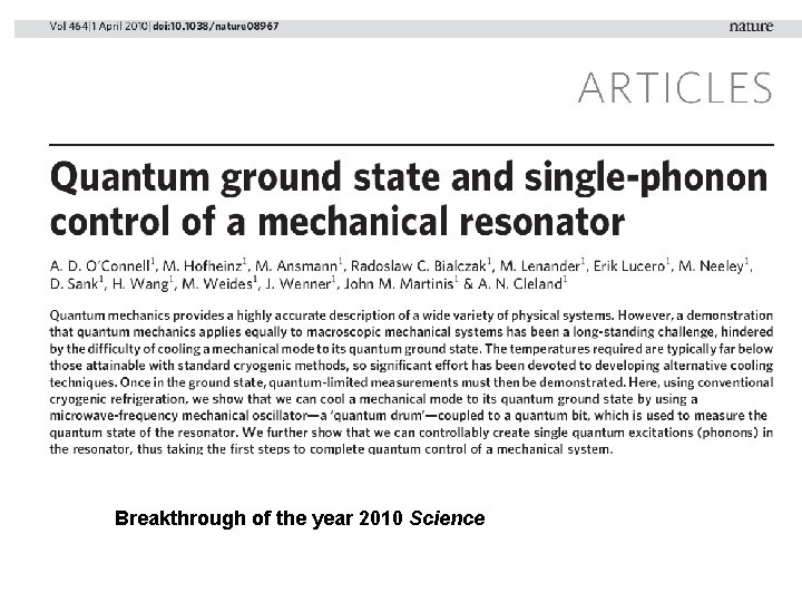 Breakthrough of the year 2010 Science