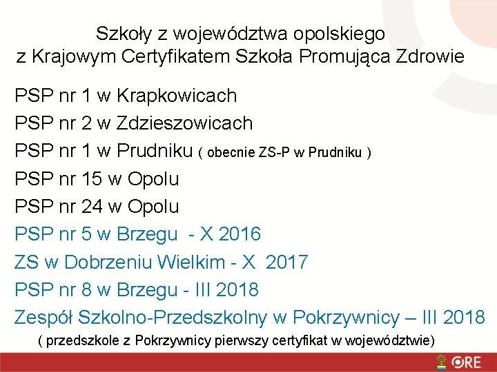 Szkoły z województwa opolskiego z Krajowym Certyfikatem Szkoła Promująca Zdrowie PSP nr 1 w