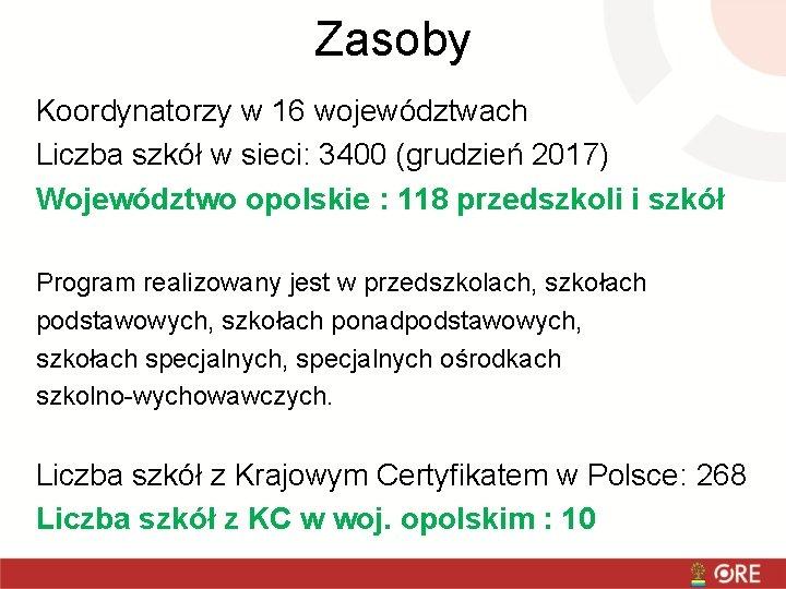 Zasoby Koordynatorzy w 16 województwach Liczba szkół w sieci: 3400 (grudzień 2017) Województwo opolskie