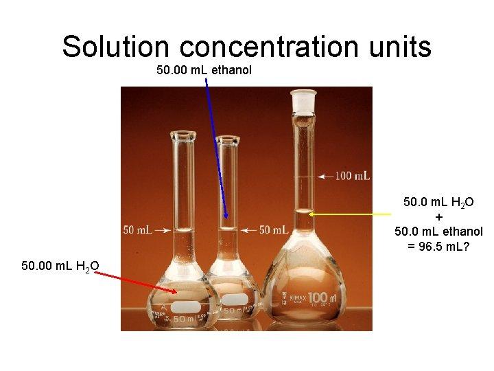 Solution concentration units 50. 00 m. L ethanol 50. 0 m. L H 2
