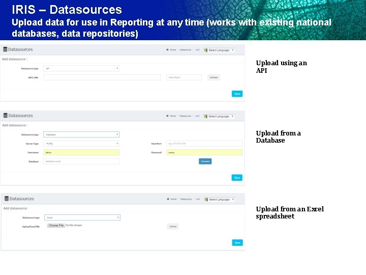 IRIS – Datasources Upload data for use in Reporting at any time (works with