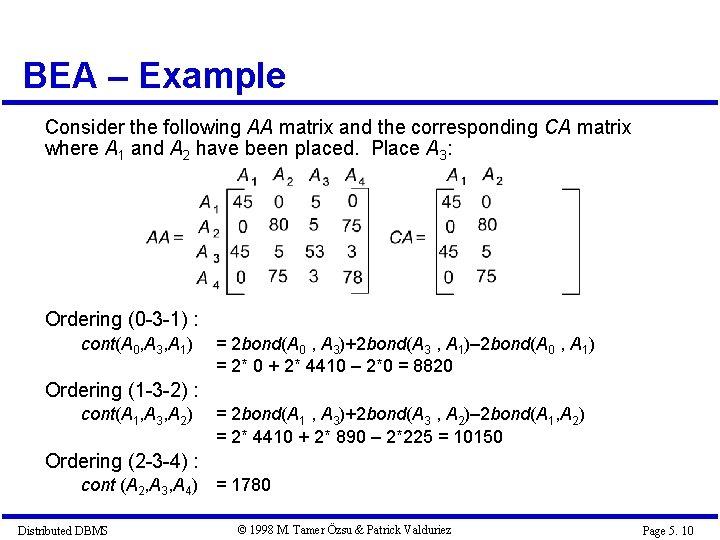 BEA – Example Consider the following AA matrix and the corresponding CA matrix where