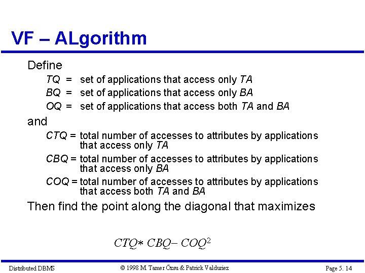 VF – ALgorithm Define TQ = set of applications that access only TA BQ