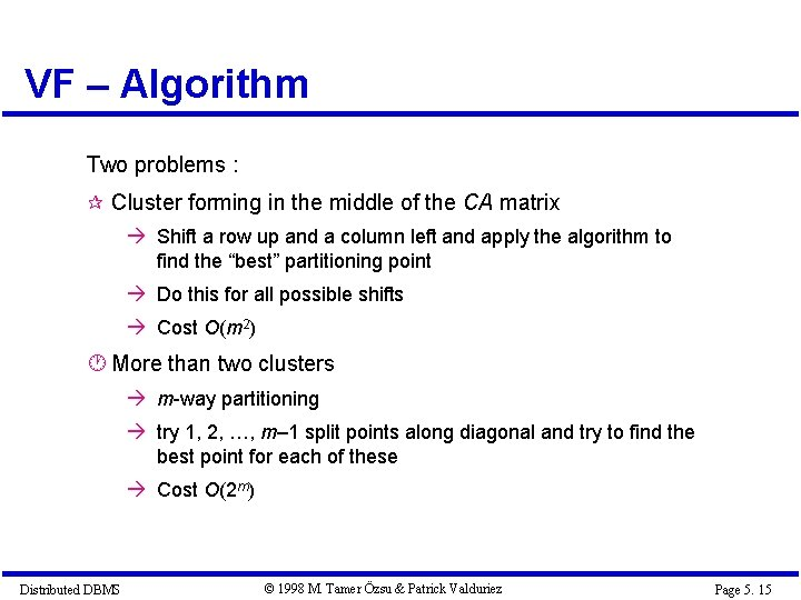 VF – Algorithm Two problems : Cluster forming in the middle of the CA