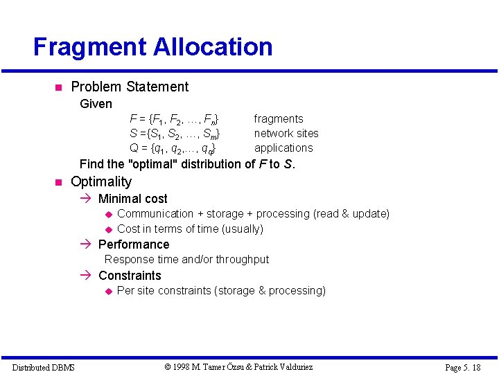 Fragment Allocation Problem Statement Given F = {F 1, F 2, …, Fn} S