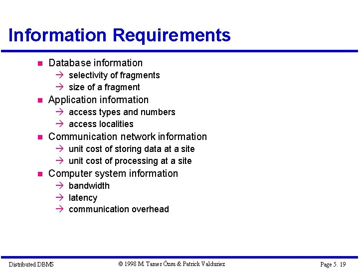 Information Requirements Database information à selectivity of fragments à size of a fragment Application