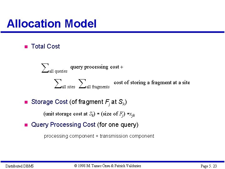 Allocation Model Total Cost all queries query processing cost all sites all fragments cost