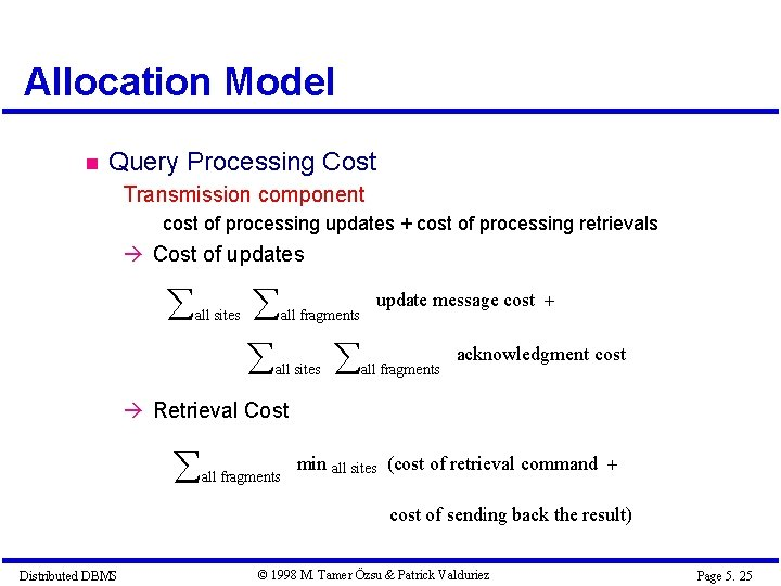 Allocation Model Query Processing Cost Transmission component cost of processing updates + cost of