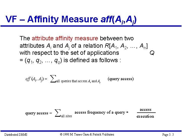 VF – Affinity Measure aff(Ai, Aj) The attribute affinity measure between two attributes Ai