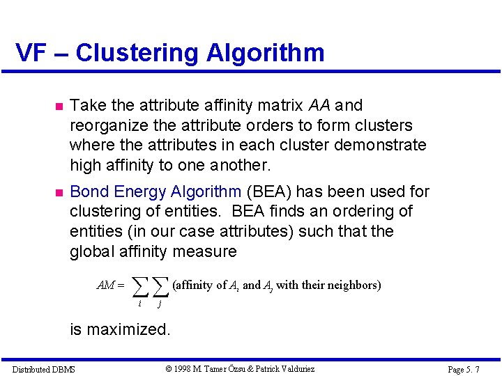 VF – Clustering Algorithm Take the attribute affinity matrix AA and reorganize the attribute