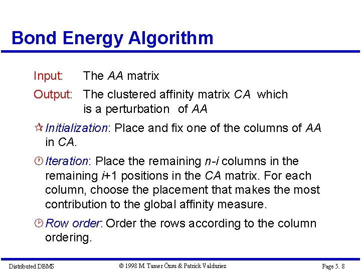 Bond Energy Algorithm Input: The AA matrix Output: The clustered affinity matrix CA which