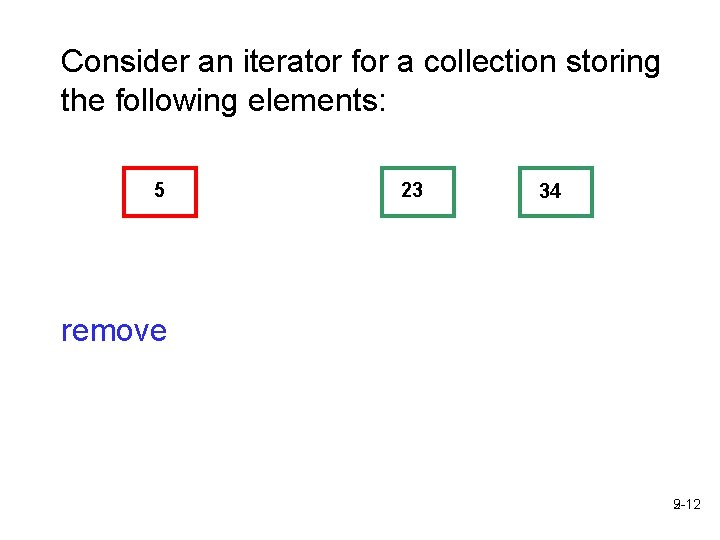 Consider an iterator for a collection storing the following elements: 5 23 34 remove