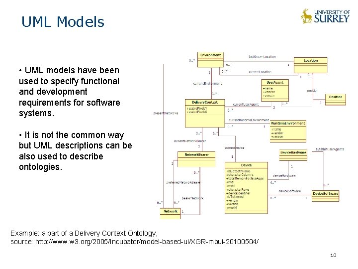 UML Models • UML models have been used to specify functional and development requirements